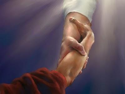 mão jesus levantafixer dans la main de Dieu