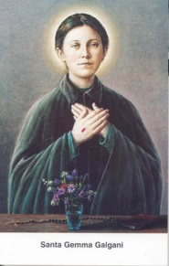 St Gemma with Rosary and flowers